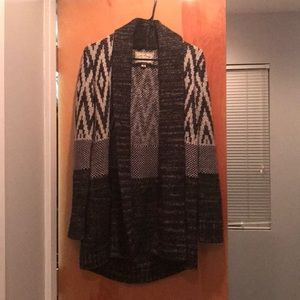 Lucky Brand Black / Gray Wrap Sweater Wmns Size M